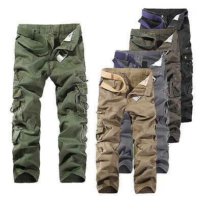 Hot Men's Cotton Combat Cargo Army Pants Military Camouflage Camo Trousers
