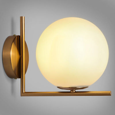 Modern LED Globe Glass White Shade Wall Lights Sconce Antique Brass Linear Decor