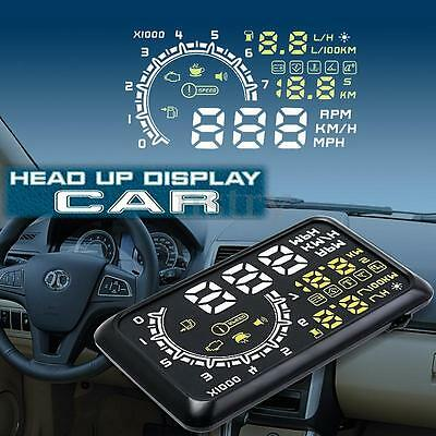 Car HUD Head Up Display OBDII OBD2 5.5'' Auto Gauge Speedometer Speeding Warning