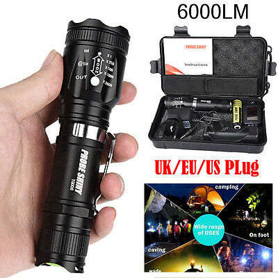 6000LM X800 Zoomable XML T6 LED Tactical Flashlight+18650 Battery+ Charger+ Case