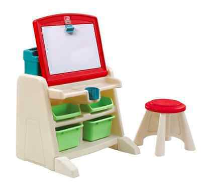 Step2 Flip and Doodle Easel Desk with Stool and Storage Area 836500