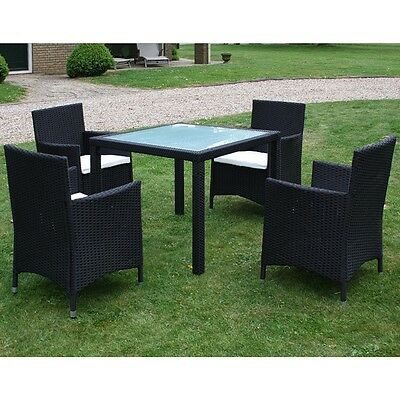 9 PCS Outdoor Wicker Furniture Dining Set Patio Poly Rattan Garden Set Black