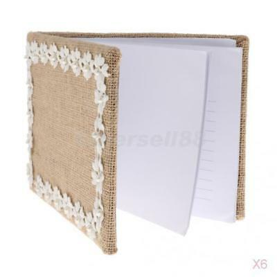 6x Rustic Guest Book Country Wedding Engagement Burlap Hessian Lace Pearl 1