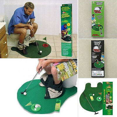 New Mini Potty Putter Toilet Time Golf Adult Game Mat Funny Novelty Gag Gift Toy