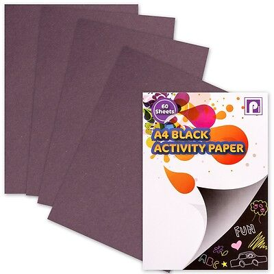 LARGE 60 SHEET A4 BLACK ACTIVITY PAD Thick Craft Paper Card Making Draw/Sketch