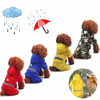 Pet Rain Coat For Dog Puppy Waterproof Jacket Rainwear Hooded Reflective Clothes