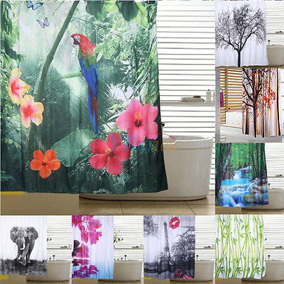 New 9Patterns 3D Waterproof Shower Curtain Bathroom With 12 Hooks For Home Hotel