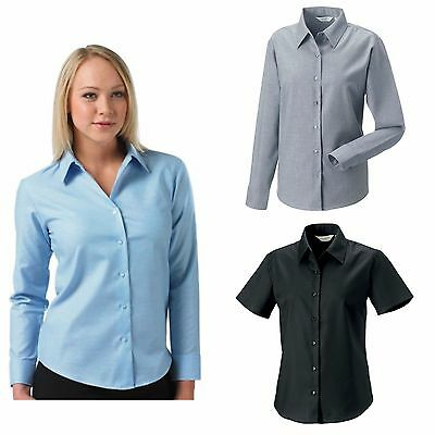 Russell Ladies Oxford Blouse Long & Short Sleeved Smart Office Business Shirt