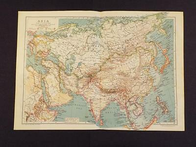 OLD VINTAGE MAP of ASIA - ANTIQUE PRINT circa 1910 BEAUTIFUL COLOURS