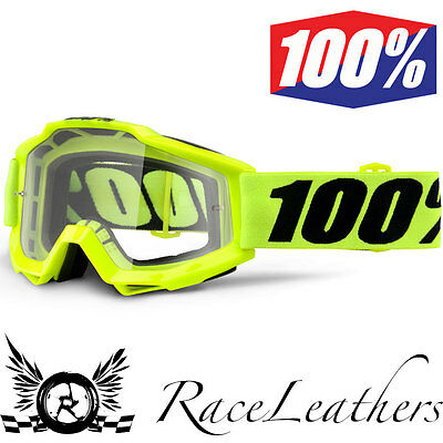 100% Percent Accuri Youth Fluo Yellow Motocross Motorbike Mx Goggles Clear Lens