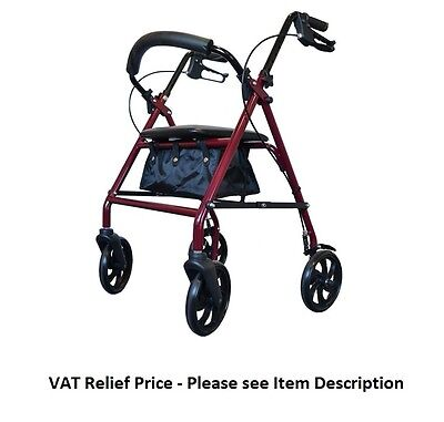 4-WHEEL ROLLATOR Mobility Disability Folding Walking Frame With Seat & Storage