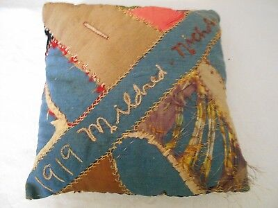 Unique Antique Vintage Throw Pillow With Date And Names - 1919