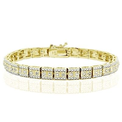 18K Gold Tone 0.10ct TDW Natural Diamond Square Tennis Bracelet in Brass