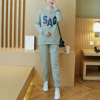 Fashion Pregnant Women Outfits Comfy Leisure Maternity Loose Tops Belly Pants