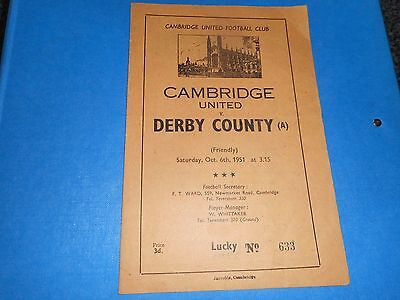 CAMBRIDGE UNITED  v  DERBY COUNTY ( A )  1951/2 FRIENDLY ~ OCTOBER 6th