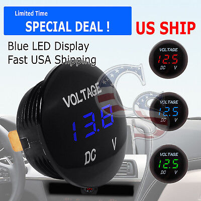 Blue LED Digital Waterproof Voltmeter A Gauge Meter 12V-24V Car Auto Motorcycle