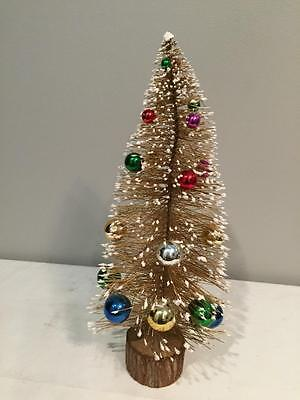 "Vintage Village Gold BOTTLE BRUSH Christmas TREE Mica Ornaments 15"" height"