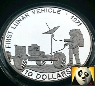 1992 Solomon Islands $10 Lunar Vehicle 1971 Space Exploration Silver Proof Coin
