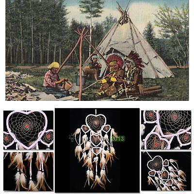 Five-rings Dream Catcher Feathers Large Dream With Beauty Heart Shape Home Craft