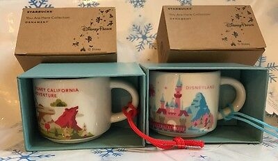 Starbucks DISNEYLAND AND CALIFORNIA ADVENTURE Mug Cup You Are Here Ornaments