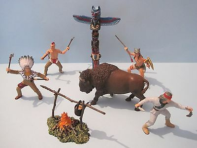 PAPO Action Figures: RETIRED RED INDIANS, BISON, TOTEM & CAMPFIRE