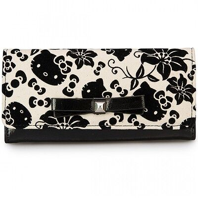 NWT Loungefly Hello Kitty Black & Cream Floral Trifold Wallet