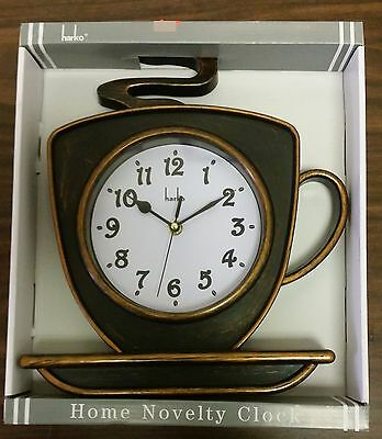 """Rare Plastic Home Novelty Wall Clock, approx. 12"""" x 12"""", COFFEE CUP by Harko"""