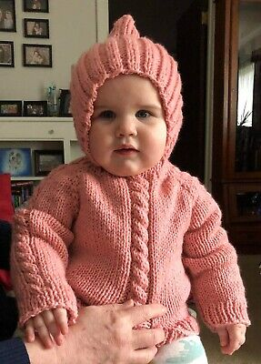Handmade Knitted Baby Sweaters with Hood and Back Zipper – Choose size & color