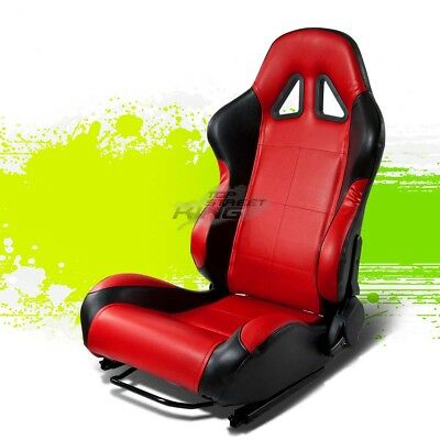 2 X Red/black Pvc Leather Jdm Sports Racing Seats+Adjustable Slider Driver Side