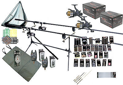 Carp Fishing Kit Set Shakespeare Rods Reels Tackle GIANT Accessory Pack PC20