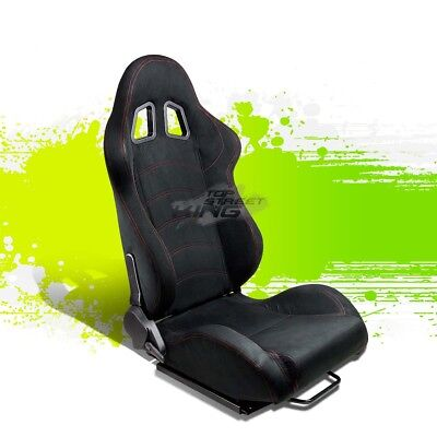 2 X Black Suede Reclinable Jdm Sports Racing Seats+Adjustable Sliders Right Side
