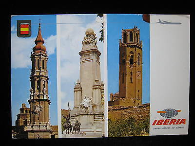 Zaragoza Madrid Lerida IBERIA SPANISH AIRLINES DC8 Destination Vintage Postcard