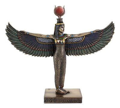 """8"""" Egyptian Winged Isis Sculpture Ancient Egypt God Statue Winged Pagan Goddess"""