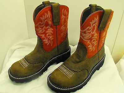 Ariat Fatbaby Brown Tan Honcho Red Hot Leather Suede Cowboy Boots Size 8B