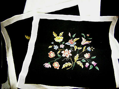 """Pair 23"""" Square Needlepoint Chair Seats / Pillows / Hangings - Floral on Black"""
