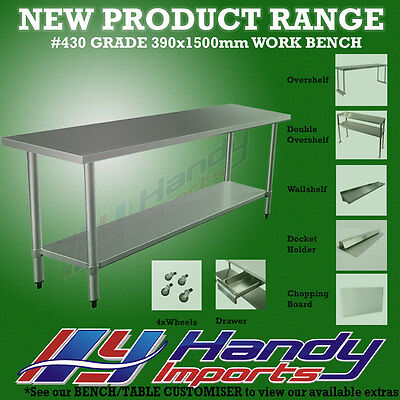 1500 x 390mm STAINLESS STEEL #430 NARROW WORK BENCH KITCHEN FOOD PREP SLIM TABLE