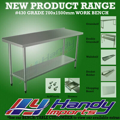 1500x700mm STAINLESS STEEL #430 COMMERCIAL FOOD PREP WORK BENCH W/SPLASH BACK