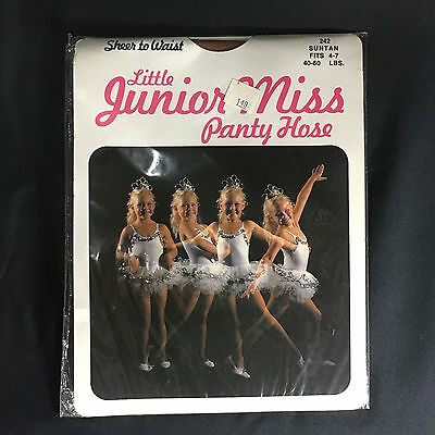 Vintage Little Junior Miss Panty Hose Suntan Girls Fits 4-7 40-60lbs Sheer Nylon