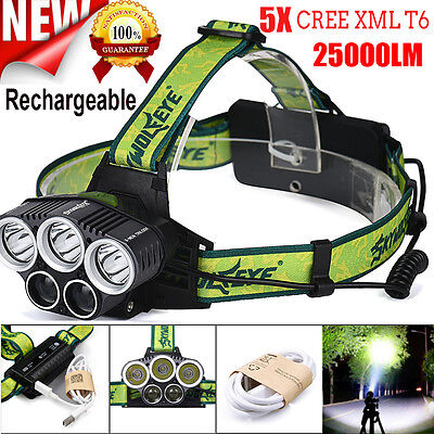 25000LM 5X CREE XM-L T6 LED Rechargeable USB Headlamp Headlight Head Torch UK