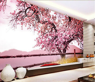 3D tree Pink scenery Wall Paper wall Print Decal Wall Deco Indoor wall Mural