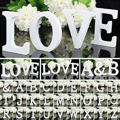 26 Wooden White Letter Alphabet Word Free Standing Wedding Party Home Decor