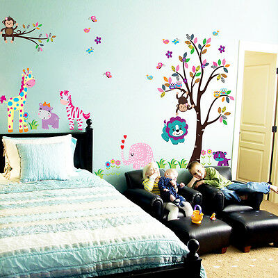 baby's room Wall Sticker Vinyl Removable Decal Nursery Decor jungle animal tree