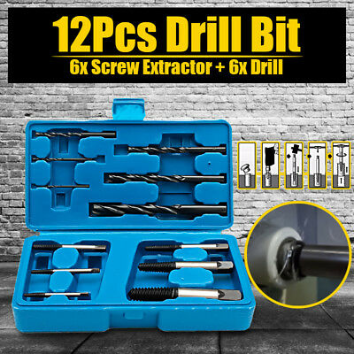 12 in1 Set Damaged Screw Extractor Drill Bits Broken Bolt Remover Easy Out Tools