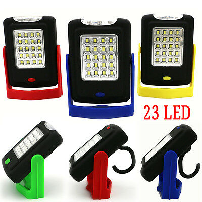 Portable 23 LED Night Work Light Flashlight Torch Lantern Lamp with Magnet Hook