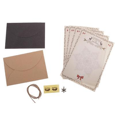 Set of Christmas Writting Letter Paper Envelope Sets Greeting Cards