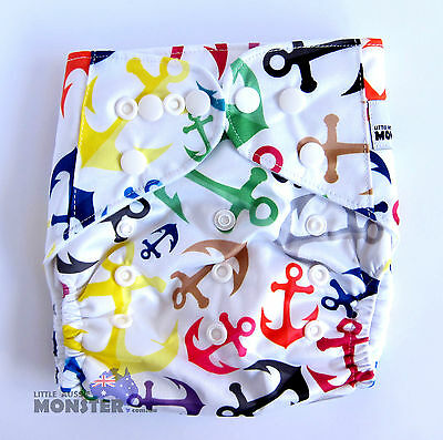 Modern Reusable Washable Baby Cloth Nappy Nappies & Insert, Anchors