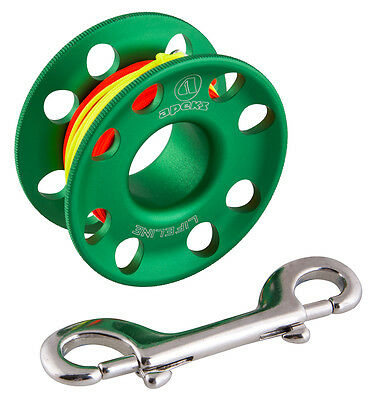 Apeks 30 Metre Line Dive Spool with Stainless Steel Double Snap Bolt-Green