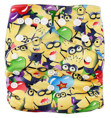 Modern Reusable Washable Baby Cloth Nappy Nappies & Insert, minions