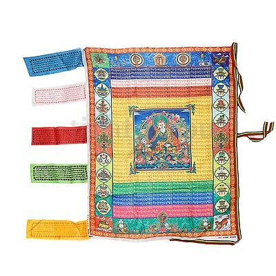 Tibetan Satin Wind Horse Flag Tibetan Buddhism Buddha Prayer Flag 70 x 95cm