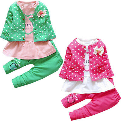 3PCS/Set Kids Baby Girl Outfit Clothes Bow Cardigan Coat+T-shirt Tops+Long Pants